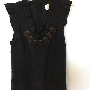 Kate spade black ruffle blouse size 4 nwot